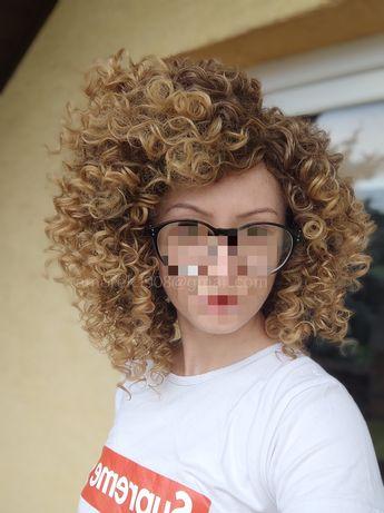 Nowa peruka afro afroloki blond brąz odrost jak naturalne włosy