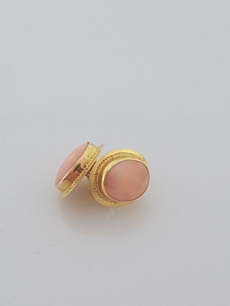 Złote kolczyki z koralem, Próba 585.Nowe(074)