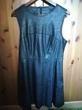 New look eko skóra czarna sukienka