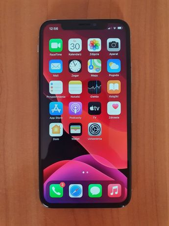 Iphone X 64gb Silver, stan bdb+, bateria 100%