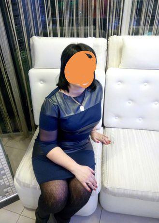 Платье женское с кожаными вставками