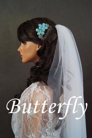 Ozdoba ślubna biżuteryjna turkusowa.