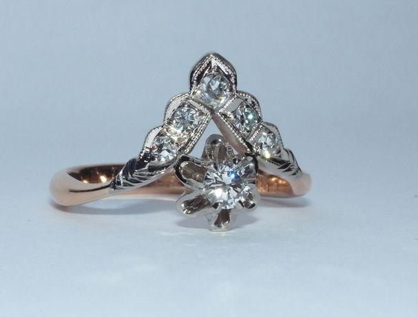 Кольцо золотое с якутскими бриллиантами СССР