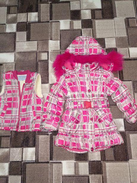 Зимняя куртка, пальто+ жилетка для девочки 110-116-122р