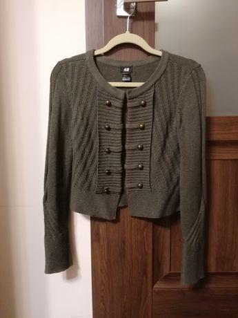 Sweter zapinany na guziki H&M HM rozmiar S militarny ciemny zielony
