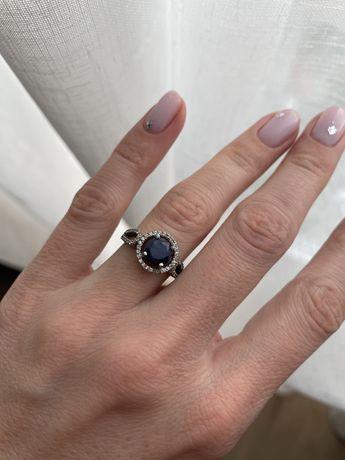 серебряное кольцо 925 проба серебро сапфир и церконий. Бирки есть