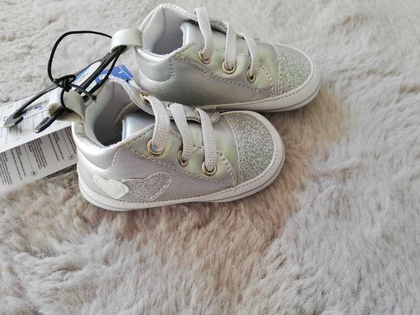 Buty buciki srebrne dla dziewczynki rozmiar 18