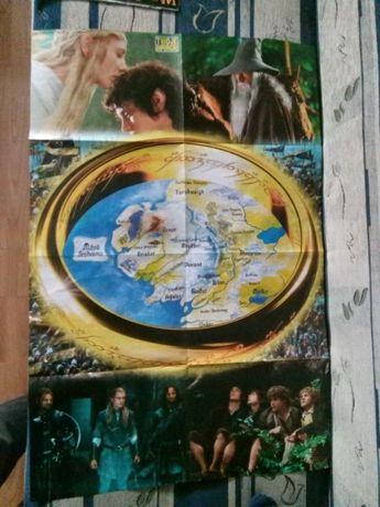 Meg plakat Władca pierścieni, dwustronny, jeden z mapą.