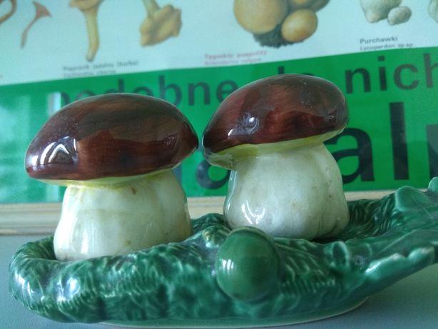 Cudne pojemniczki ceramiczne grzybki sól i pieprz