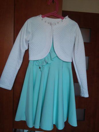Miętowa sukienka i białe bolerko rozmiar 140 cm