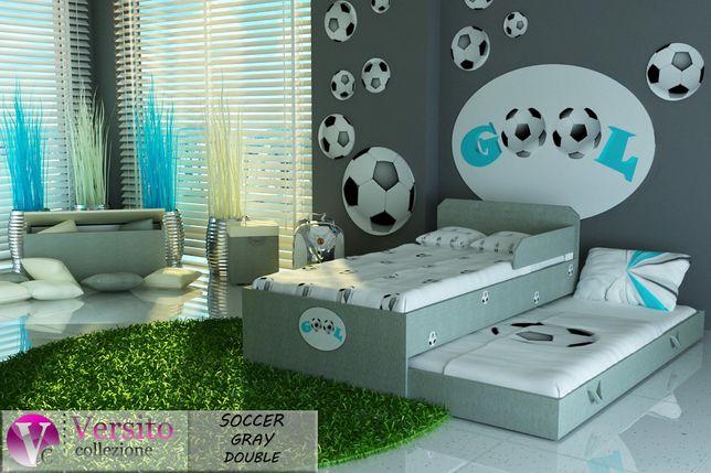 Łóżko dla dziecka piętrowe tapicerowane tkaniną z piłką nożną,łóżeczko