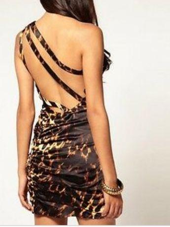 Sukienka LIPSY leopard panterka plecy oryginalna tygrys z UK lou