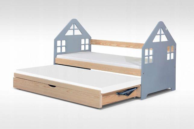 Podwójne łóżko DOMEK z pojemnikiem na pościel w super cenie