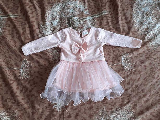 Sukienka pudrowy róż 9-12 miesięcy