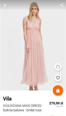 Długa sukienka suknia wieczorowa pudrowy róź VILA rozm 36 koronka nowa