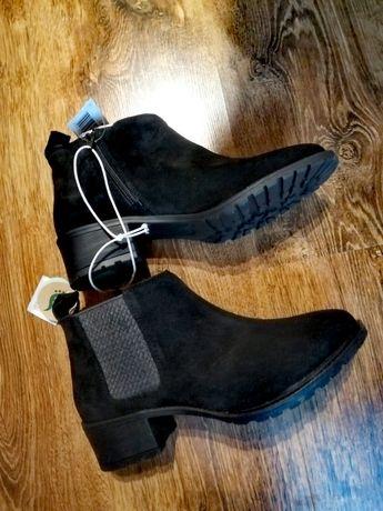 Skórzane nowe botki 39 czarne buty Esmara