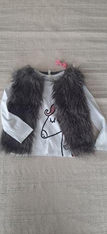 Zestaw kamizelka futro 3-4 lat 104 110 koszulka unicorn Primark nr18
