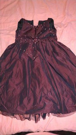 Нарядное платье из тафты с бусинами на 4-5 лет, б/у
