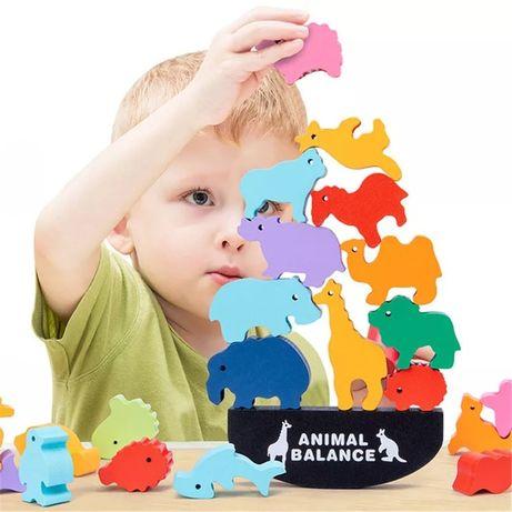 Деревянная развивающая настольная игра Animal Balance Монтессори