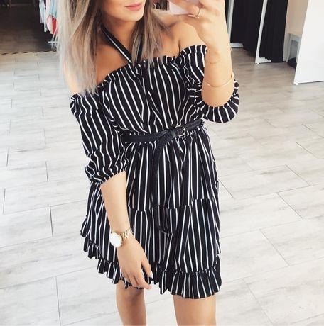 Sukienka hiszpanka wiązana paski czarna zara
