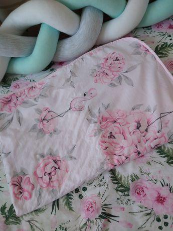 Kocyk niemowlęcy peonie i flamingi minky pudrowy róż 75x100