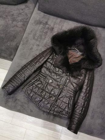 Кожаная куртка с капюшоном. Кожанный пуховик. Натуральная кожа, утепле