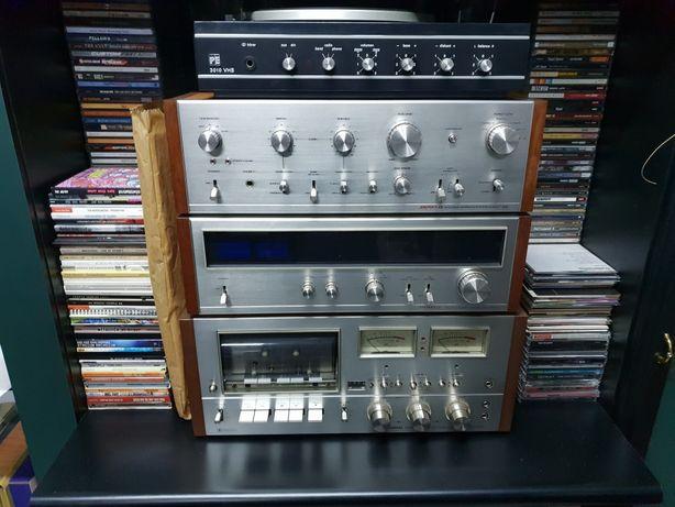 Aparelhagem vintage pioneer rádio cassete e amplificador
