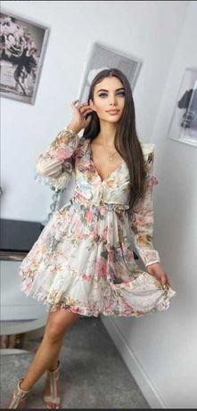 WYPRZEDAŻ zwiewna sukienka w kwiaty