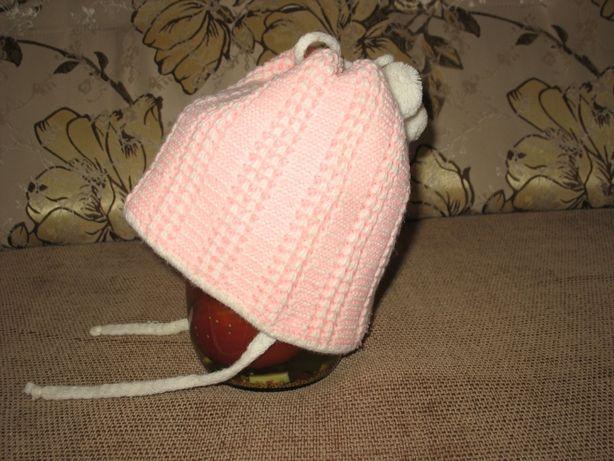 Шапка вязаная теплая светло-розовая для девочки 2-3 года