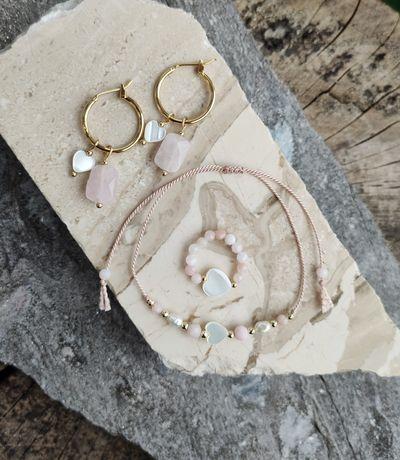 Bransoletka na jedwabnym sznurku serce masa perłowa pierścionek perły