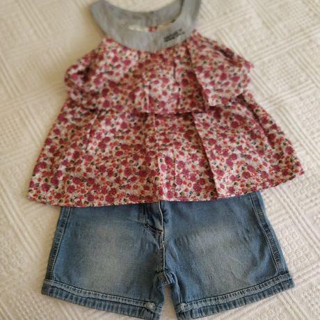 Conj IKKS de menina túnica de florinhas e calção de ganga