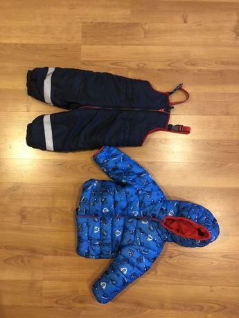 Зимный комплект mothercare, полукомбинезон и зимняя куртка