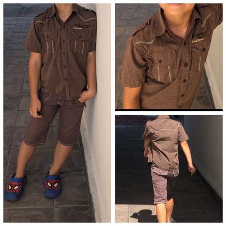 Набор бриджи джинс и тенниска для мальчика коричневые 7/8 лет 150грн