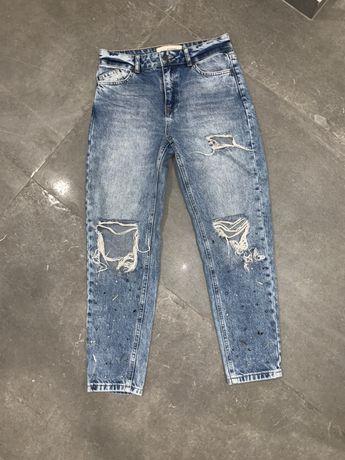 Spodnie reserved jeansy 34 xs dodatki dziury