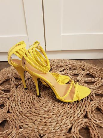 Żółte szpilki sandałki 37 WYPRZEDAŻ