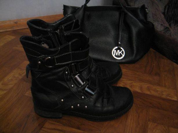 Стильные кожаные ботинки/ботинки натуральный мех/женские берцы