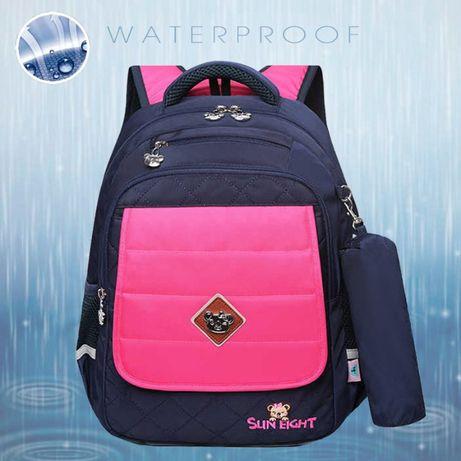 Школьный рюкзак сине-розовый с пеналом для девочки 1-2-3 класс 7-8 лет