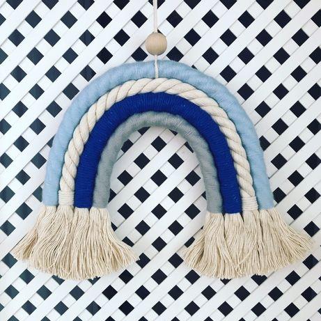 Tęcza z włóczki - dekoracja do pokoju dziecka - rękodzieło