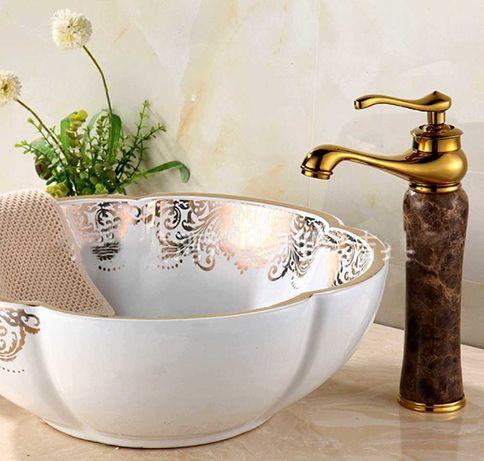 Смеситель коричневый кран золотой цвет ретро для ванной нефрит