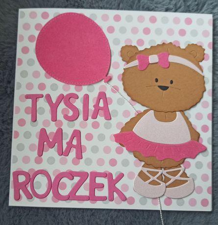 Kartka ręcznie robiona urodzinowa dla dziecka miś dowolne imię