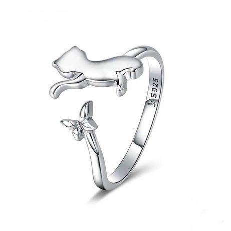 Pierścionek srebrny 925 Kot Kotek 3D na prezent do Pandora Apart