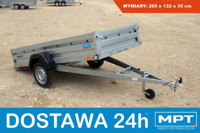 Zasław 265SU Nowa przyczepka samochodowa 263x132 uchylna skrzynia