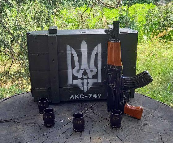 """Подарочный набор для спиртного Автомат Калашникова  """"АКС-74У"""" в ящике"""