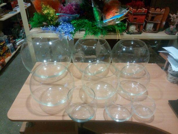 Круглый аквариум шар, бокал, ваза 0,7 - 22 л для петушка/золотой рыбки