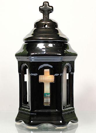 Znicz ceramiczny na wkład kapliczka mała grafit