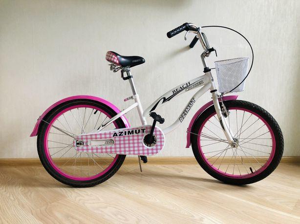 Детский двухколёсный велосипед AZIMUT BEACH 20 дюймов розовый с корзин