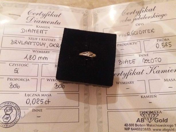 Biale zloto z diamentem pierscionek