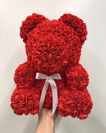 ⫸⫸ХИТ Мишка из роз плюшевый 3D 40 25 см цветы 8 марта