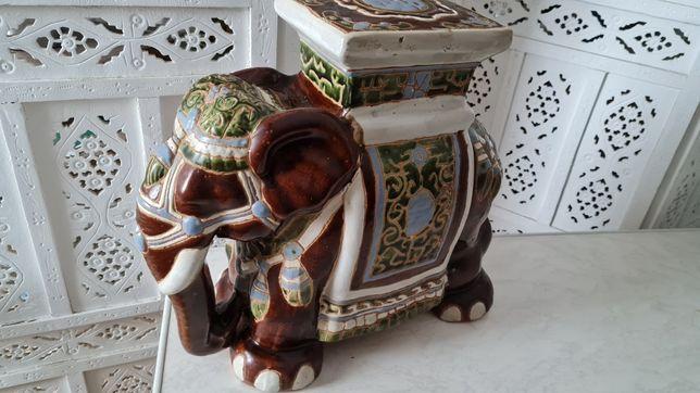 Ceramiczny słoń - kwietnik stolik podstawka.