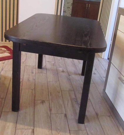 Stół dębowy czarny rozkładany, przedwojenny